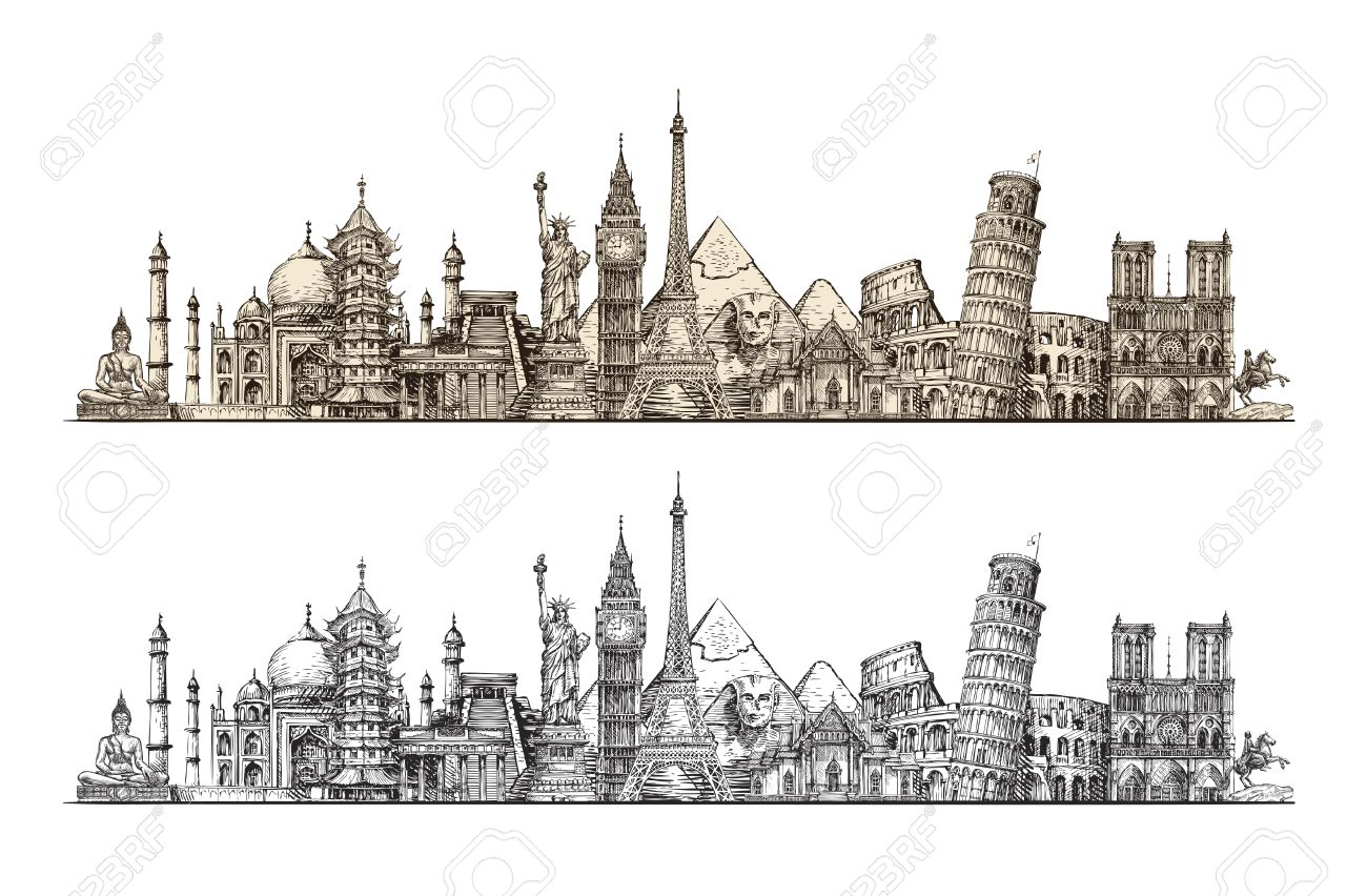 Travel. Famous monuments of world. Sketch vector illustration isolated on white background - 67209435