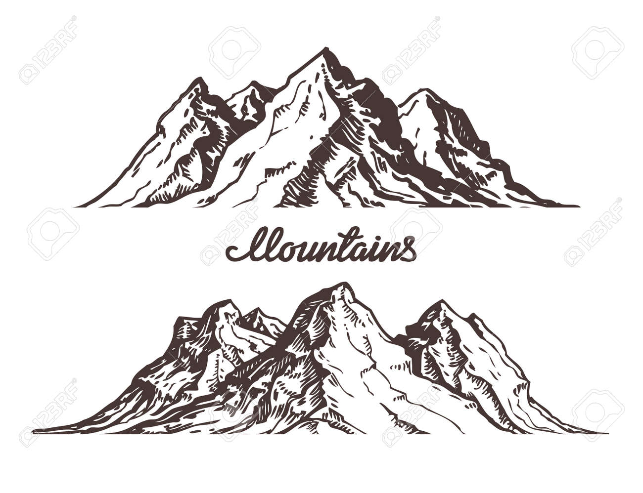 Mountains sketch. Hand drawn vector illustration isolated on white background - 67209486