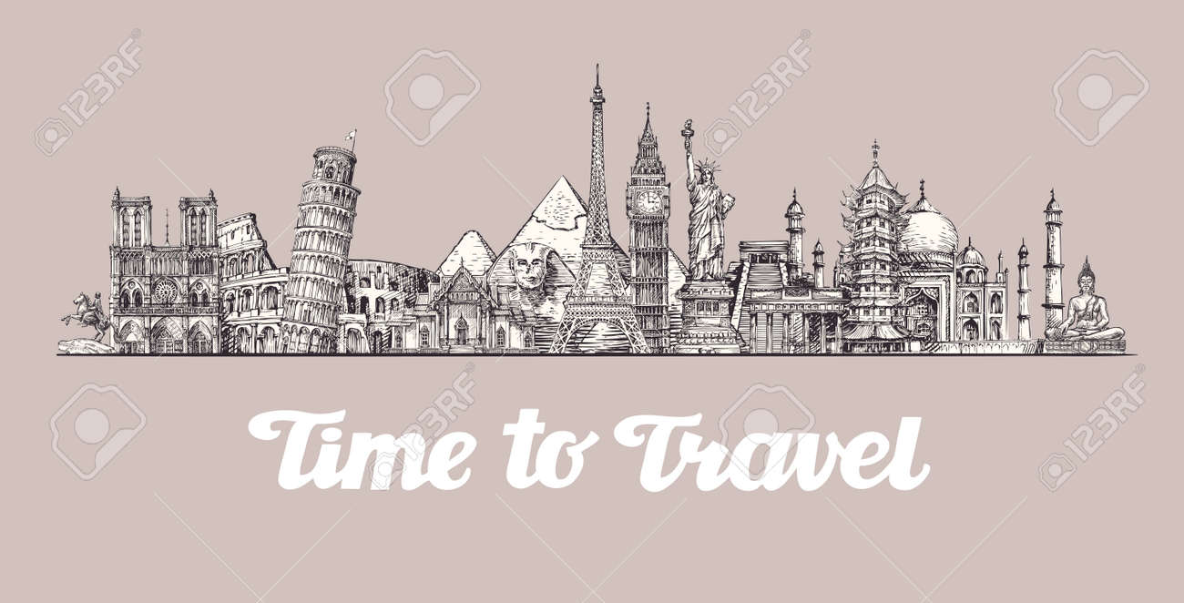 Travel, journey. Around the world, Sights of countries Vector illustration - 67209493
