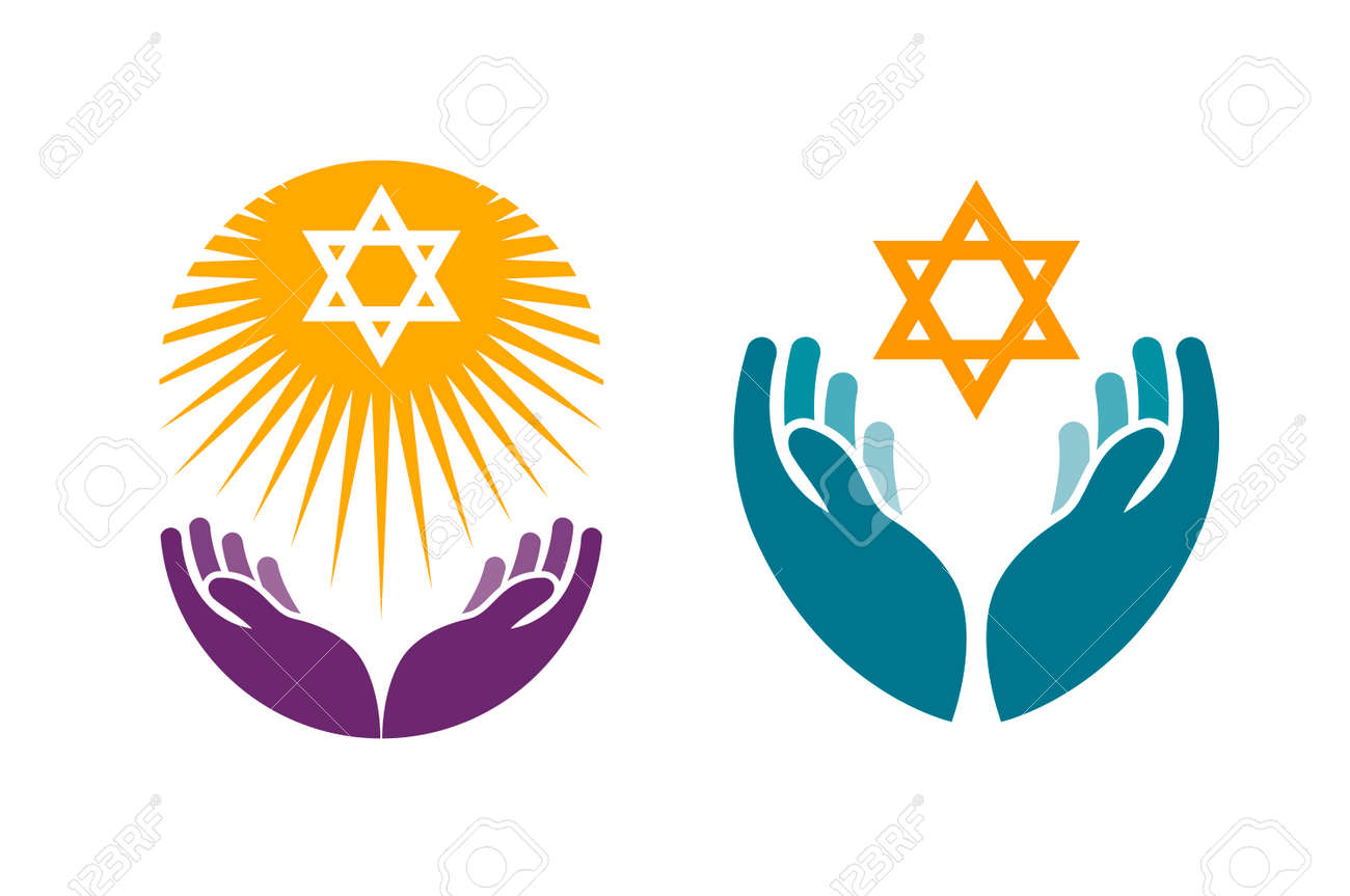 Hands holding Star of David. Icon or symbol vector isolated on white background - 67209517
