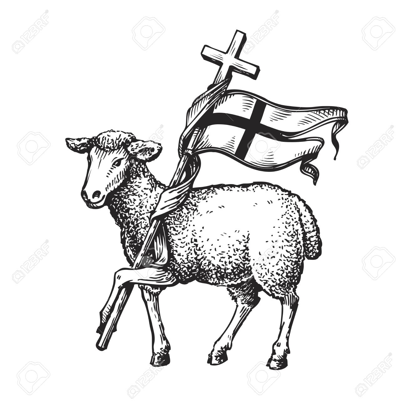 Lamb With Cross Religion Symbol Sketch Vector Illustration Isolated On White Background