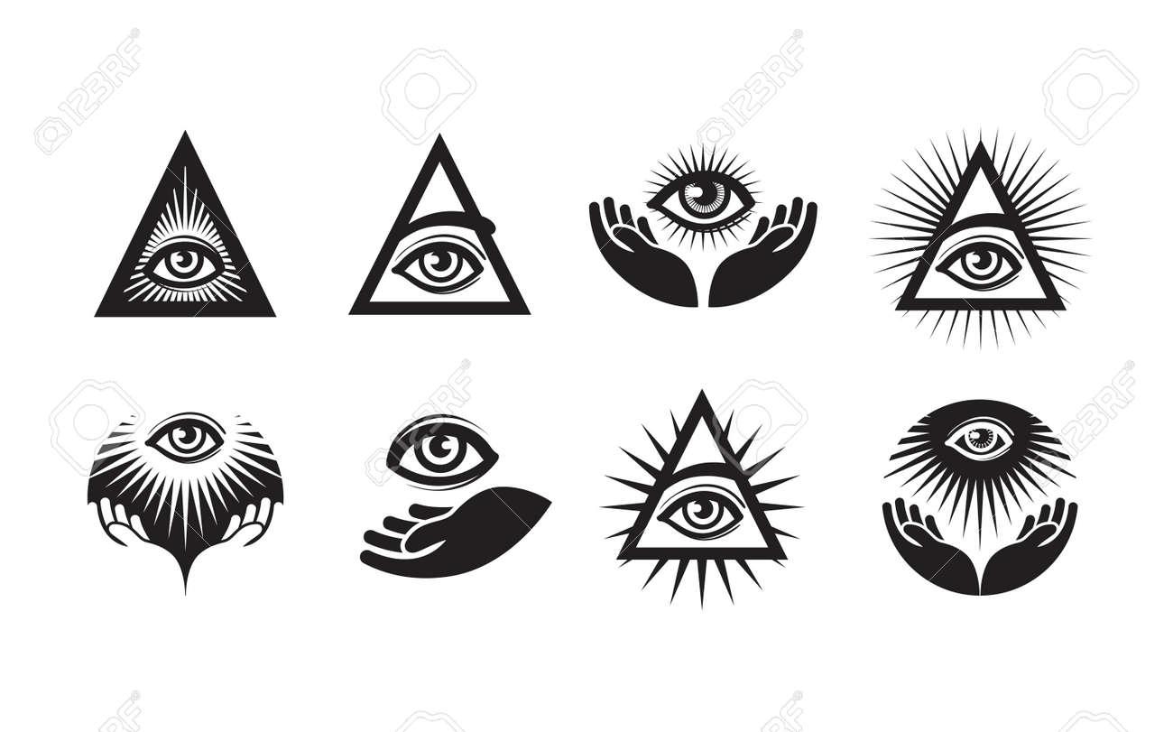 All Seeing Eye Icons Set Illuminati Symbol Isolated On White