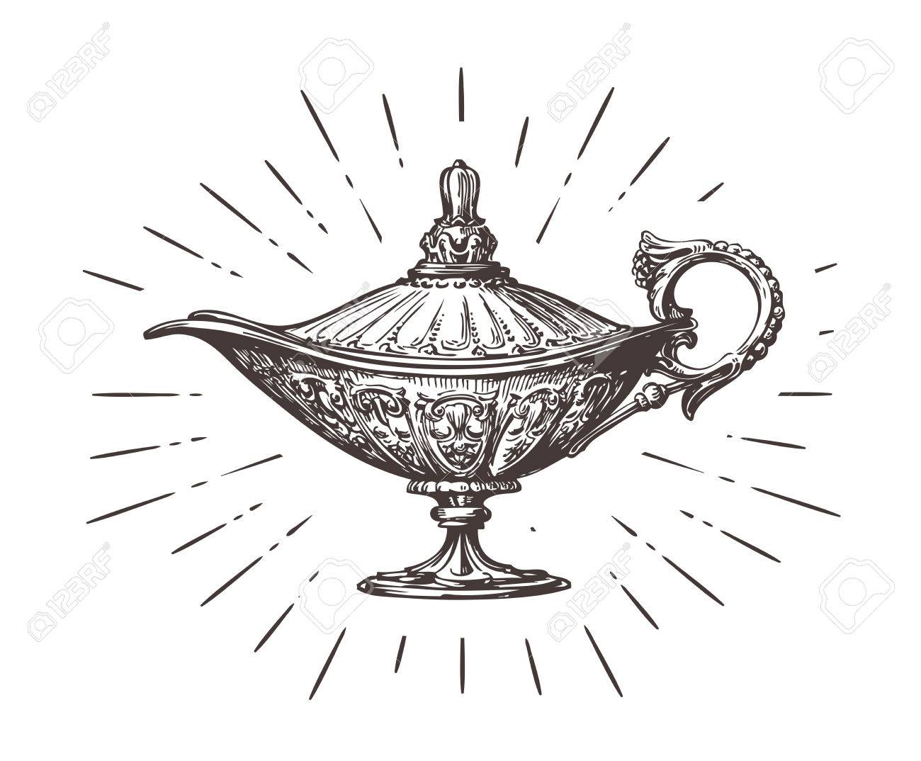 Aladdin magic or genie lamp vintage sketch vector illustration