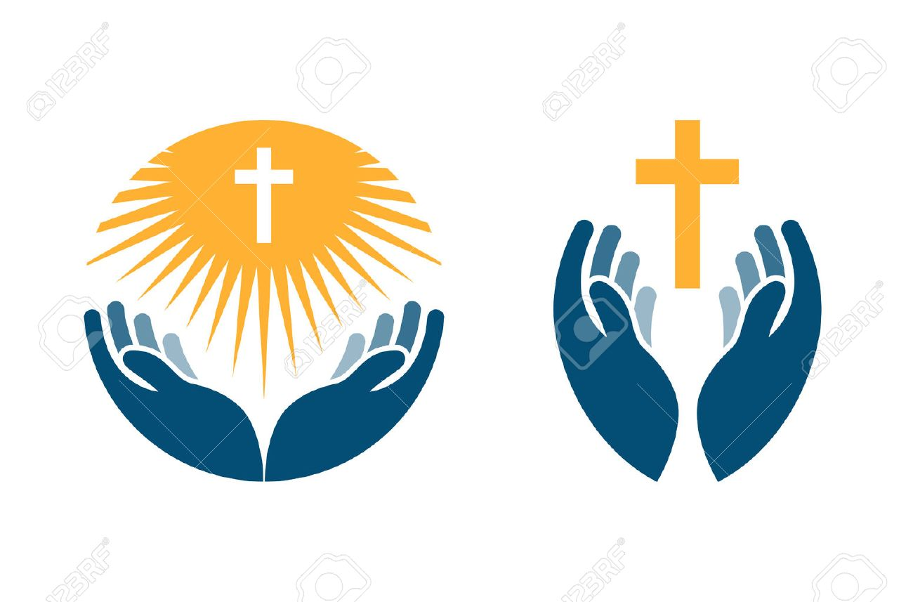 Hands holding Cross, icons or symbols. Religion, Church vector logo isolated on white background - 67209555