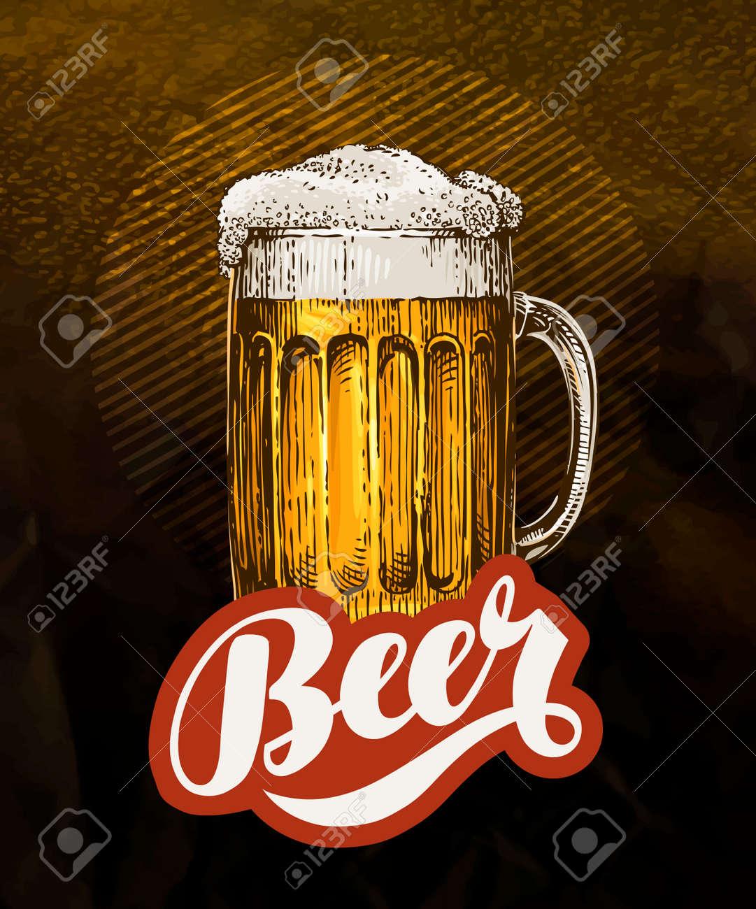 Fresh craft beer. Vintage poster for cold ale. Vector illustration - 68940473
