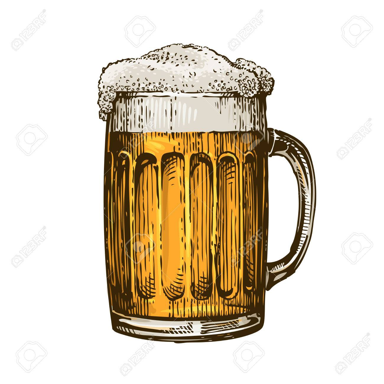 Beer in glass mug with foam. Hand drawn vector illustration isolated on white background - 68940476