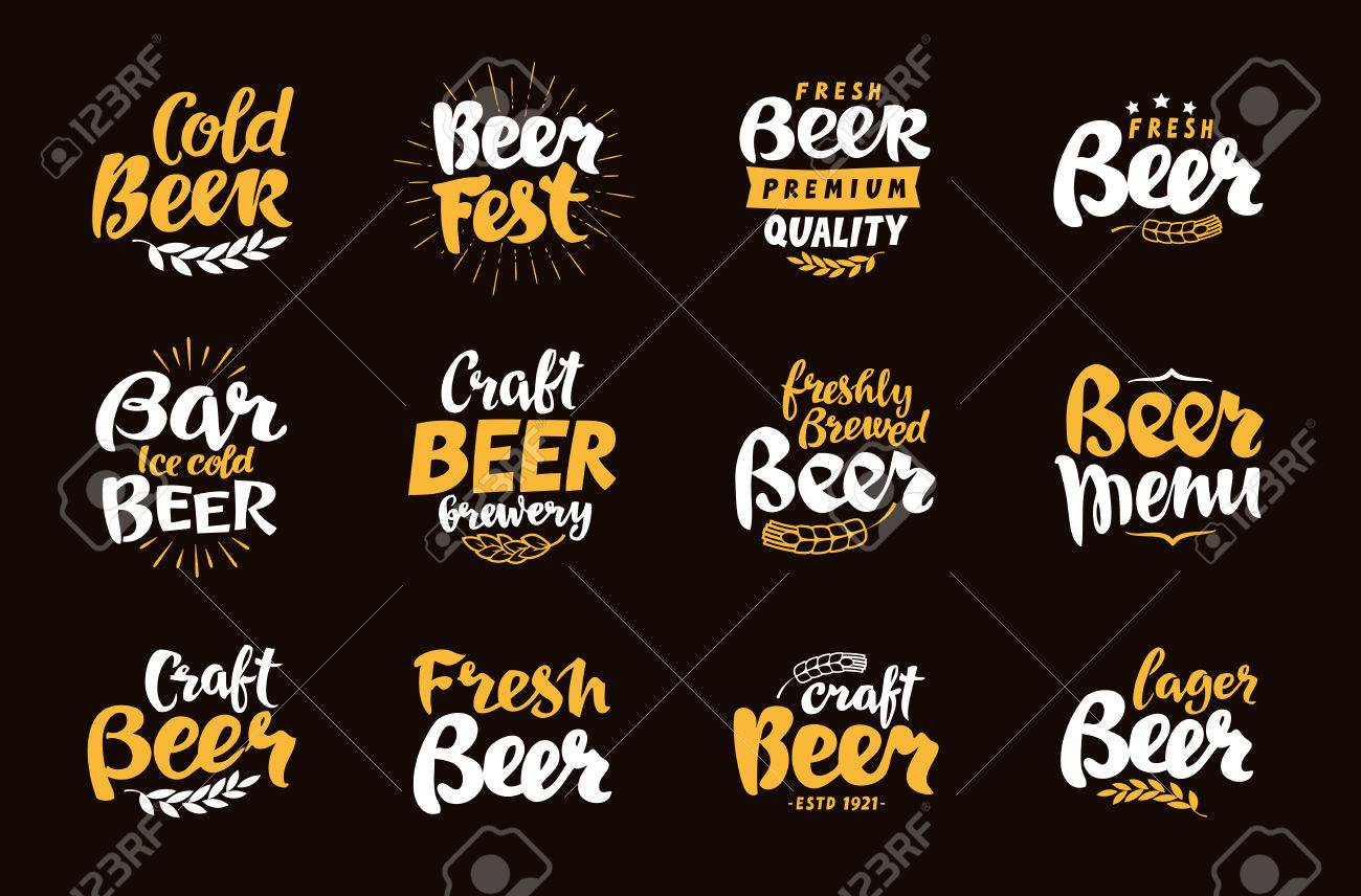 Beer Label and Logos. Lettering vector illustration - 69593264