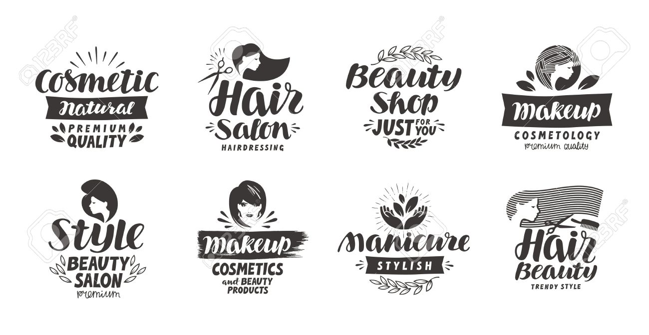 Beauty Salon Logo Set Of Icons Beautiful Labels Such As Cosmetic Makeup