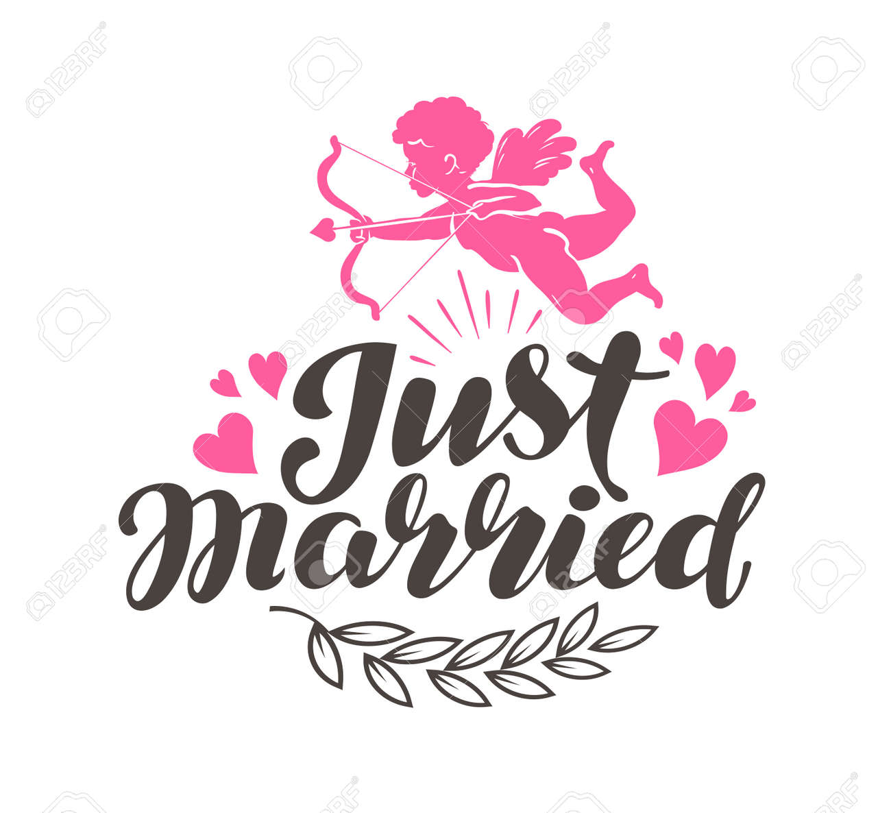 Just Married. Label with beautiful lettering, calligraphy. Vector illustration - 70970858