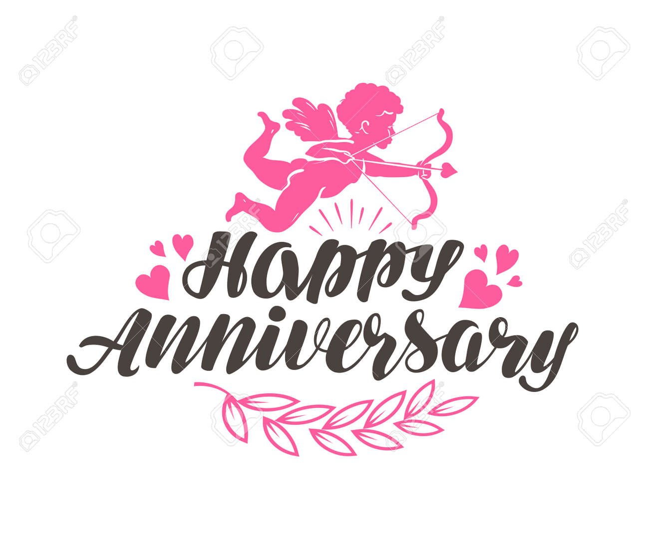 happy anniversary label with beautiful lettering calligraphy vector illustration stock vector 70971302