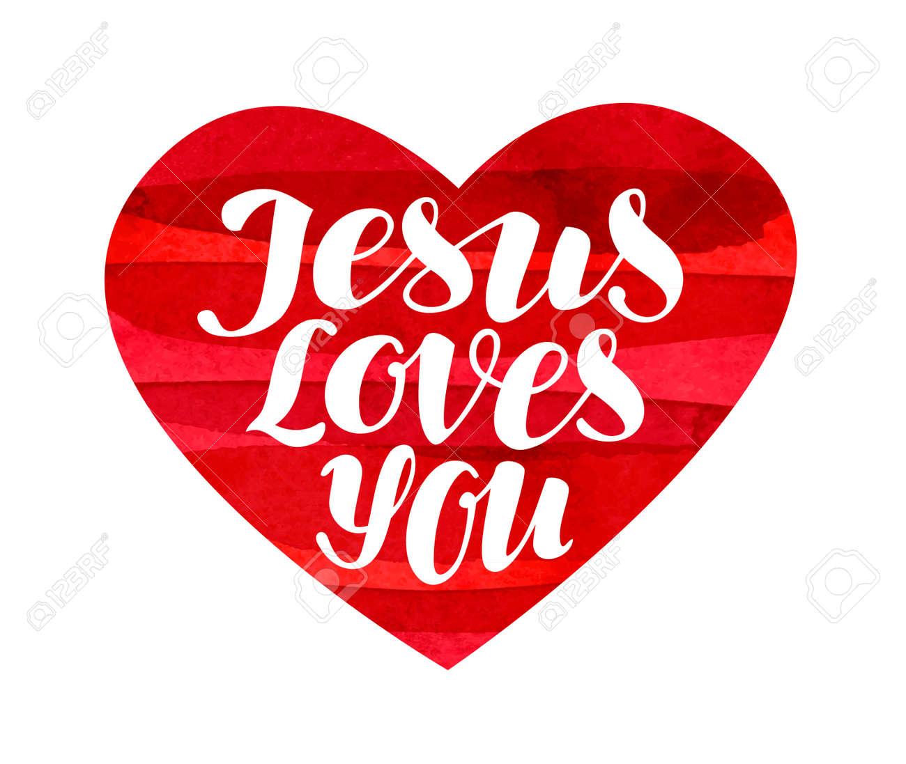Jesús Te Ama Letras Caligrafía En Forma De Corazón Ilustración