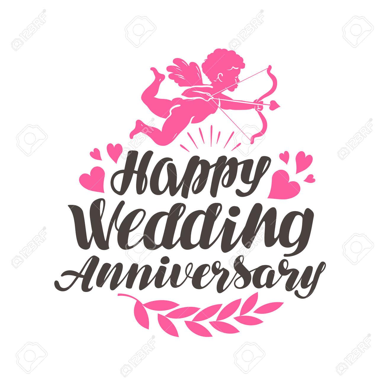 happy wedding anniversary card illustration royalty free cliparts