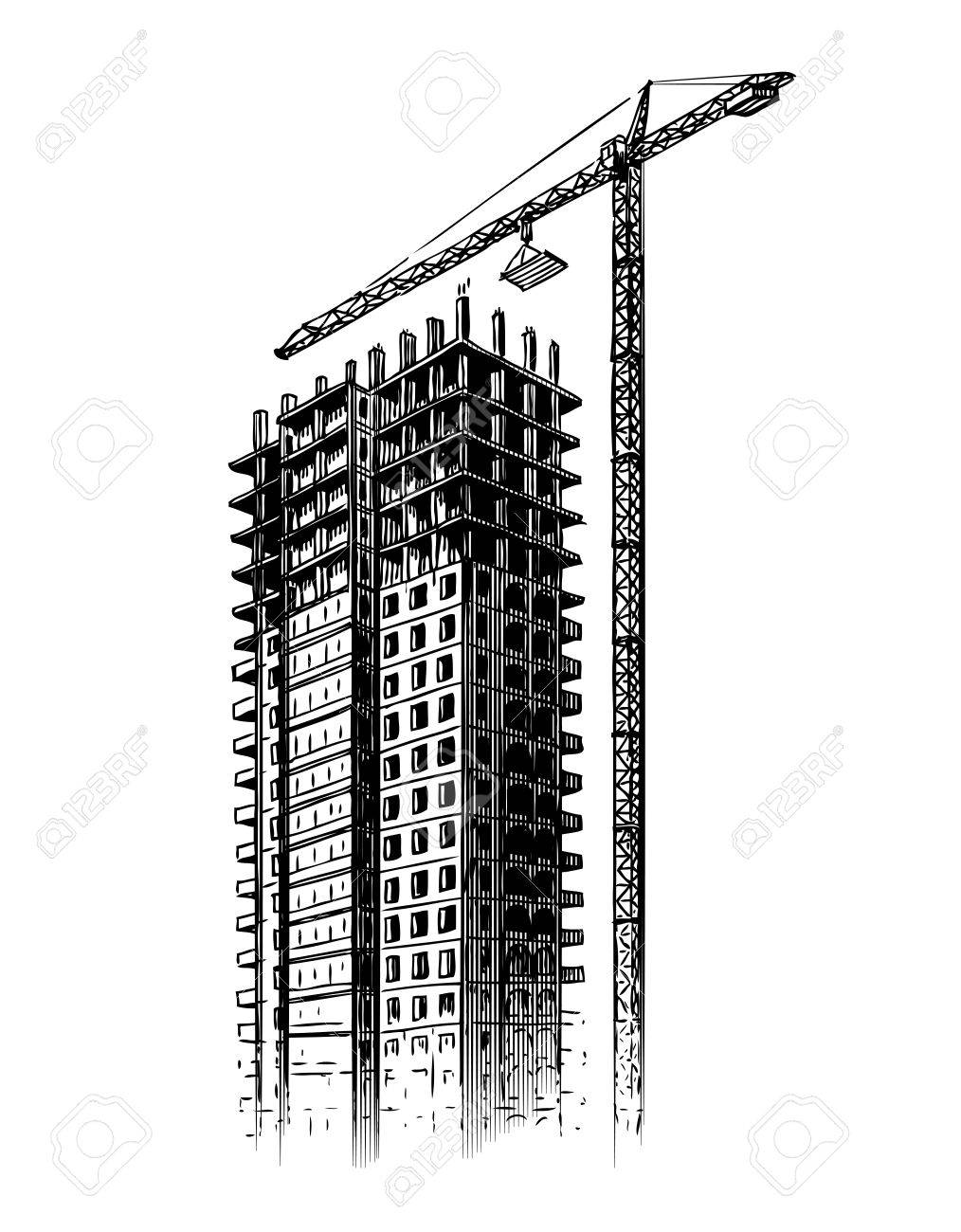 Construction Site With Crane, Vector Illustration. Hand Drawn ...