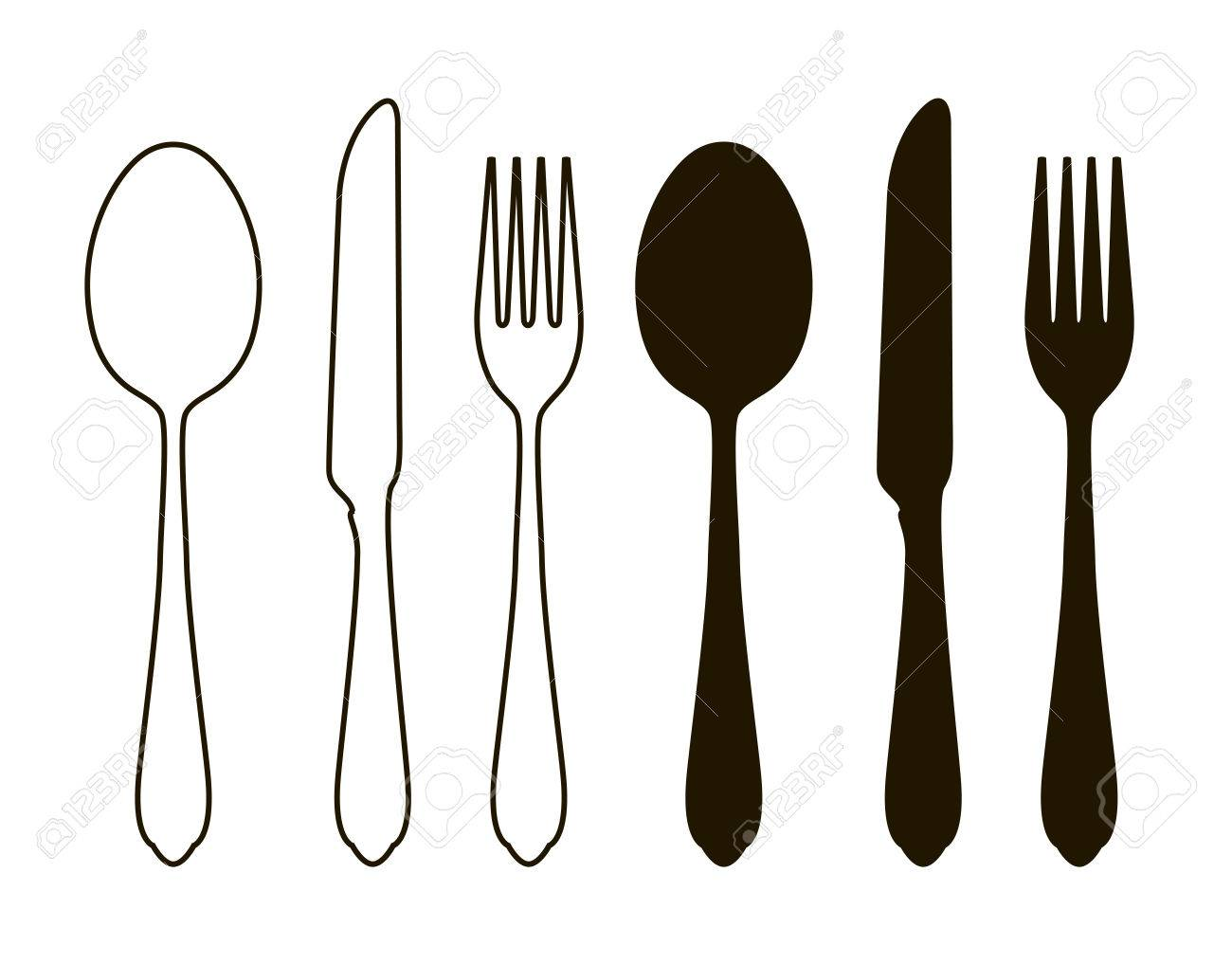 Table Setting, Tableware. Cutlery, Set Of Fork, Spoon And Knife ...