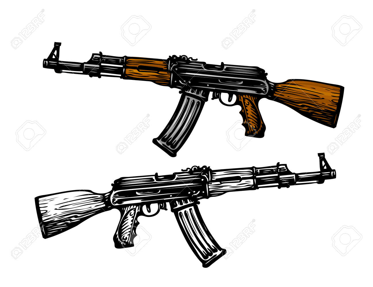 Automatic Machine AK 47 Kalashnikov Assault Rifle Sketch Vector Illustration
