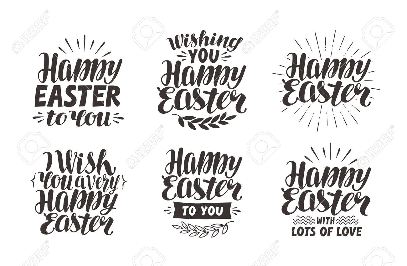 Happy Easter Greeting Card Religious Holiday Label Symbol