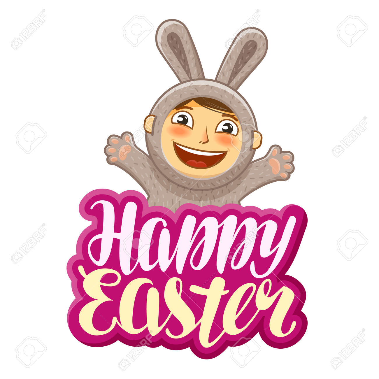 Happy easter greeting card funny rabbit holiday label lettering happy easter greeting card funny rabbit holiday label lettering calligraphy vector kristyandbryce Choice Image