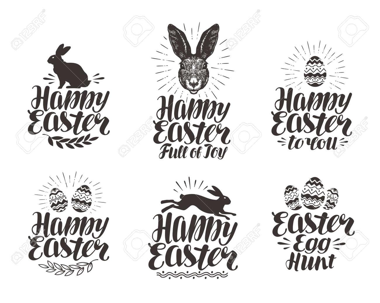 Happy Easter, label set. Egg, rabbit, bunny symbol. Lettering, calligraphy vector illustration - 74560035