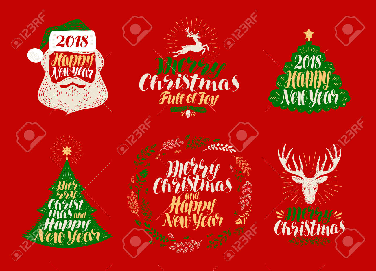 merry christmas and happy new year label set xmas icons or logos lettering