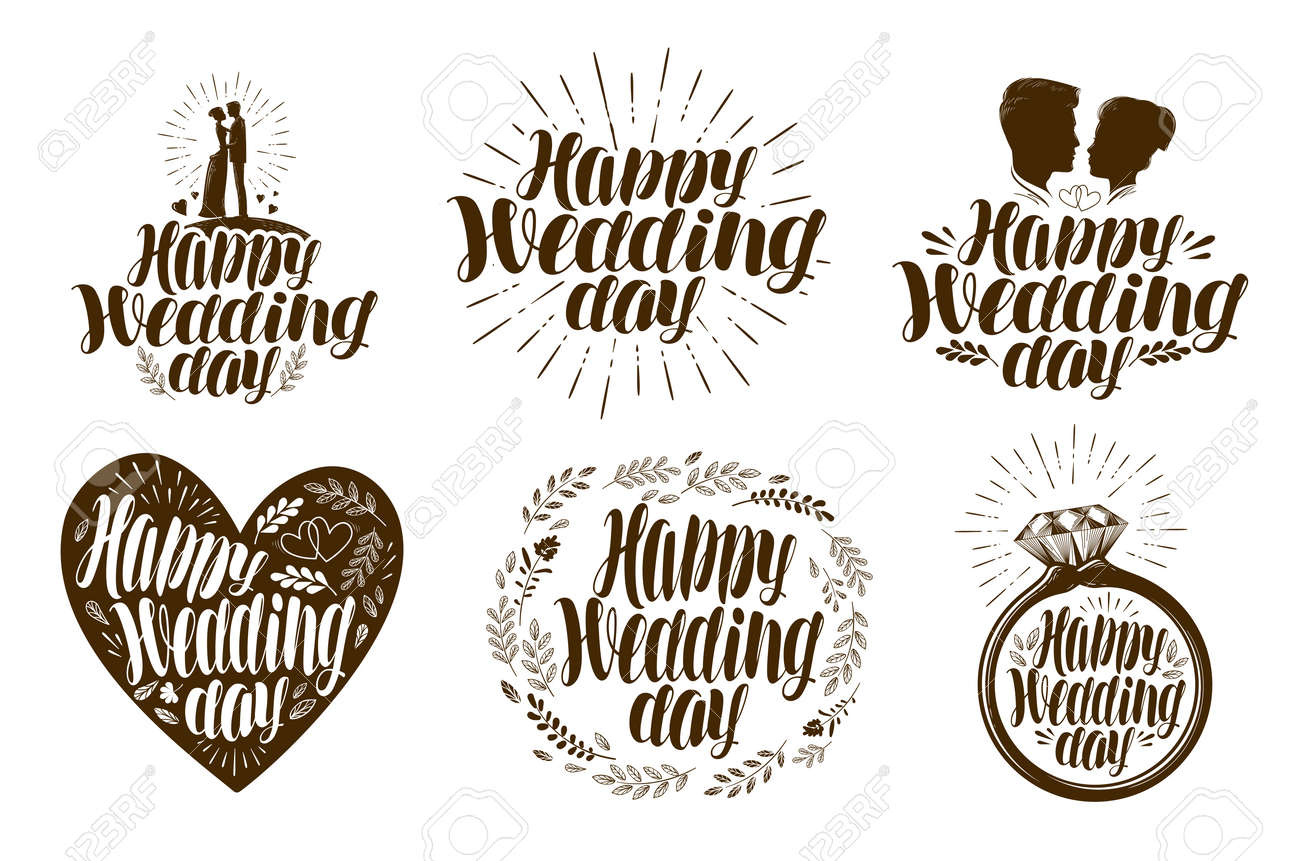 Happy Wedding Day Label Set Married Couple Love Icon Or Logo