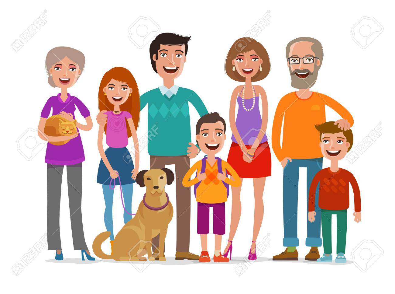 Big Happy Family Group Of People Parents And Children Concept Royalty Free Cliparts Vectors And Stock Illustration Image 79987328