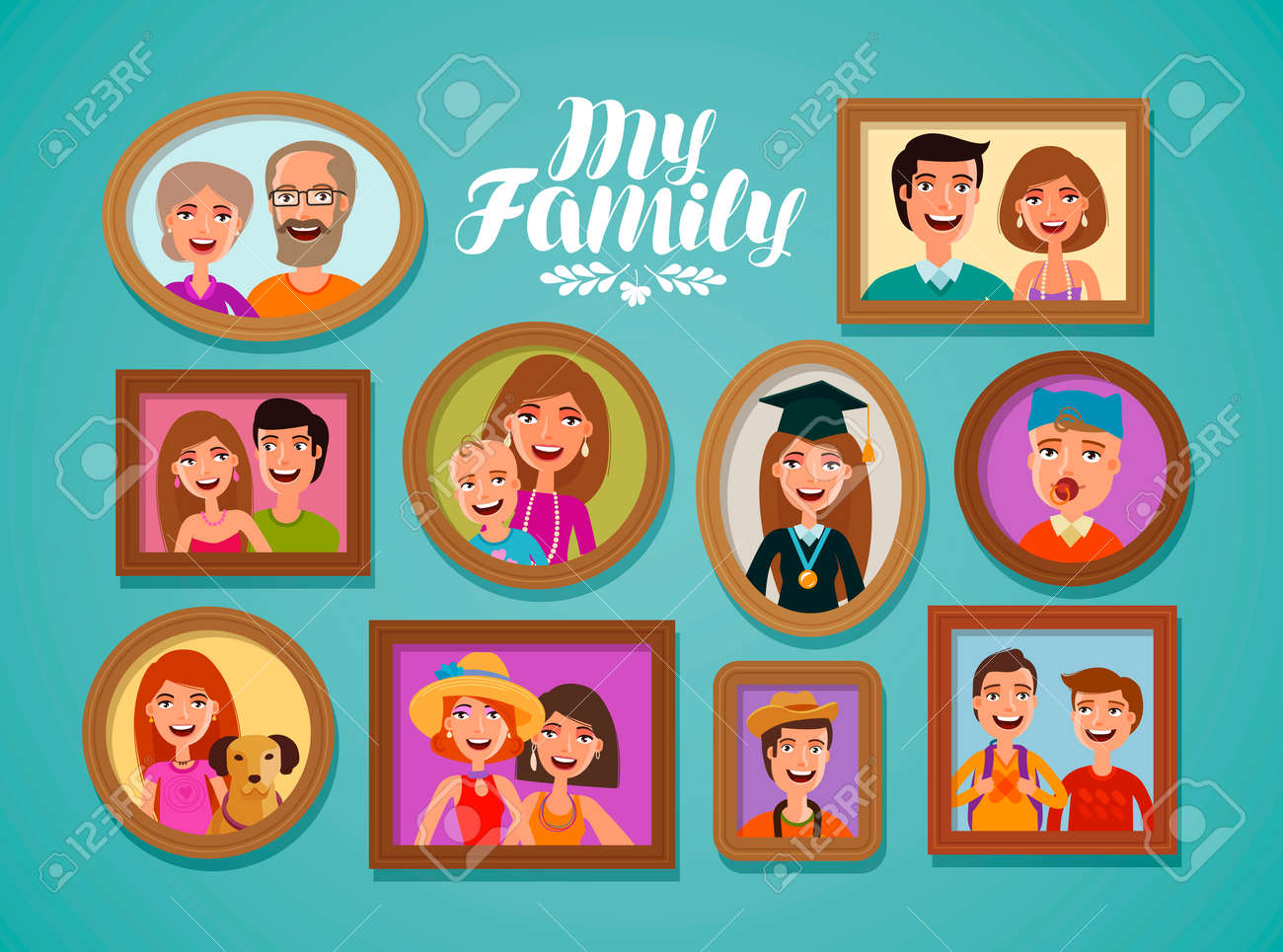 Family Photos In Frames. People, Parents And Children Concept ...