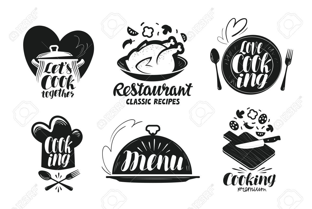 Restaurant menu food label set cooking kitchen cuisine icon cooking kitchen cuisine icon or logo forumfinder Choice Image