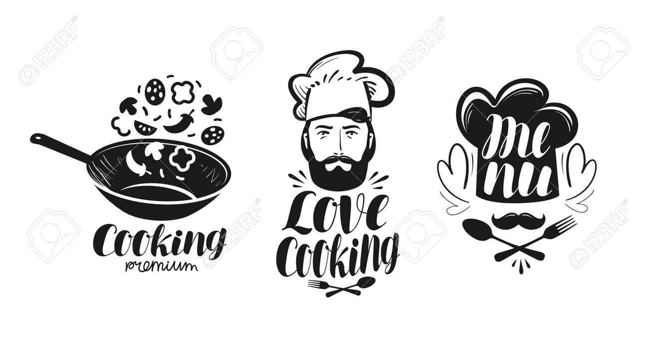 Cooking Cuisine Logo Label Set For Design Menu Restaurant Or
