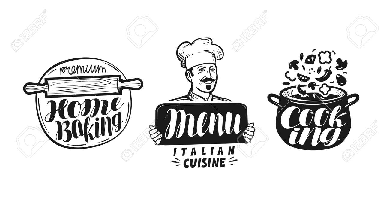 Cucina, Logo Della Cucina. Icona E Etichetta Per Il Menu Di Design ...
