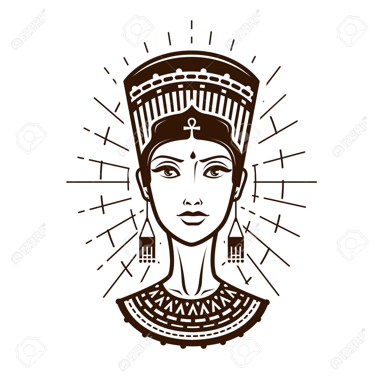 Portrait of beautiful young woman, girl in ethnic outfit. Egypt, Africa logo or label. Vintage vector illustration - 83935924