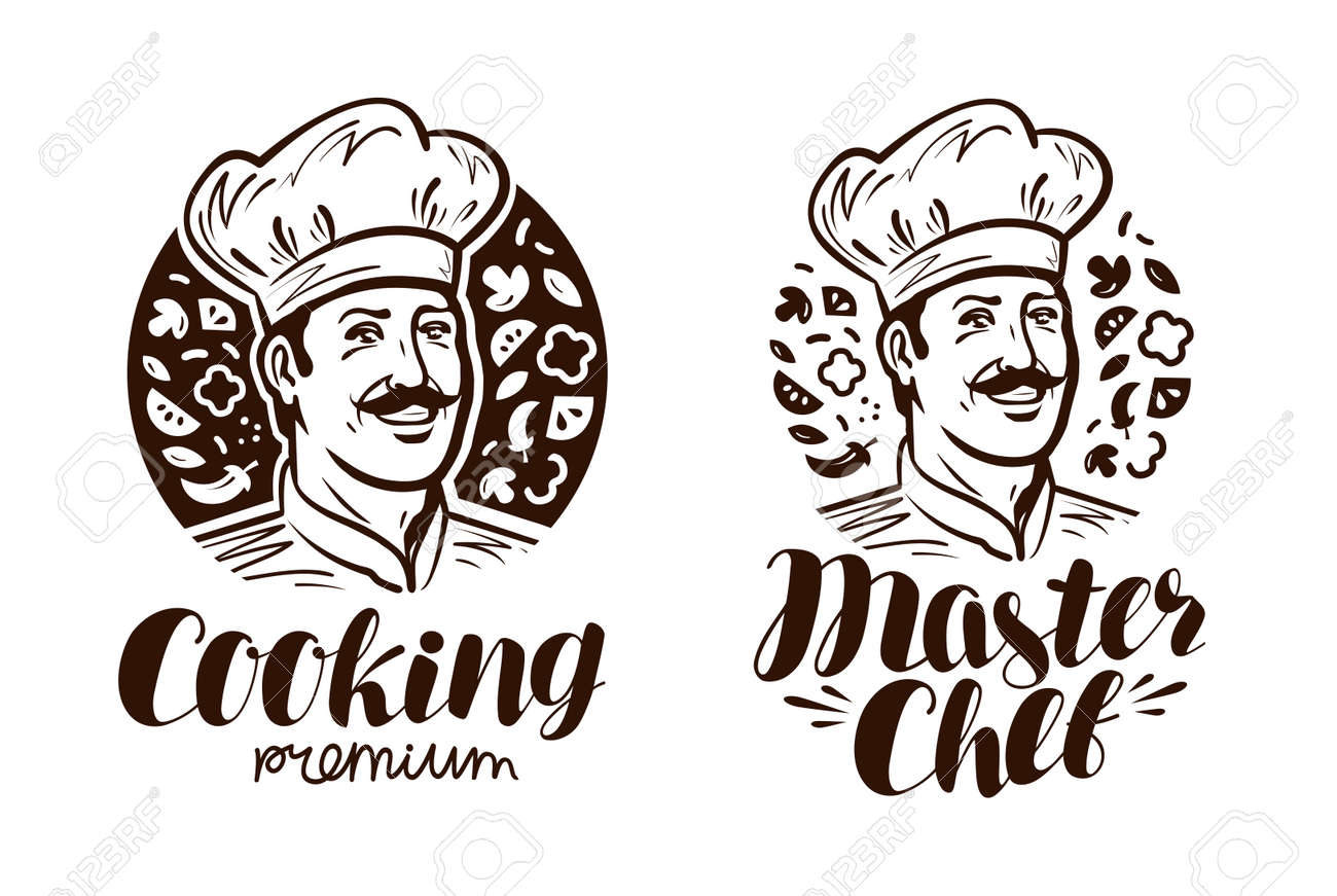 portrait of happy chef logo or label cooking cuisine icon