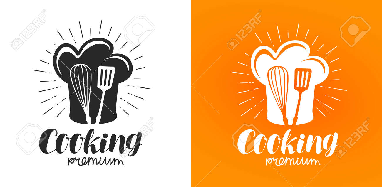 Cooking Logo Or Label Cuisine Kitchen Icon Lettering Vector