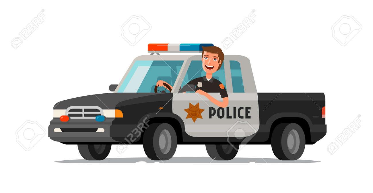Feliz Sheriff Monta En Coche Camioneta De Policía Ilustración De Vector De Dibujos Animados