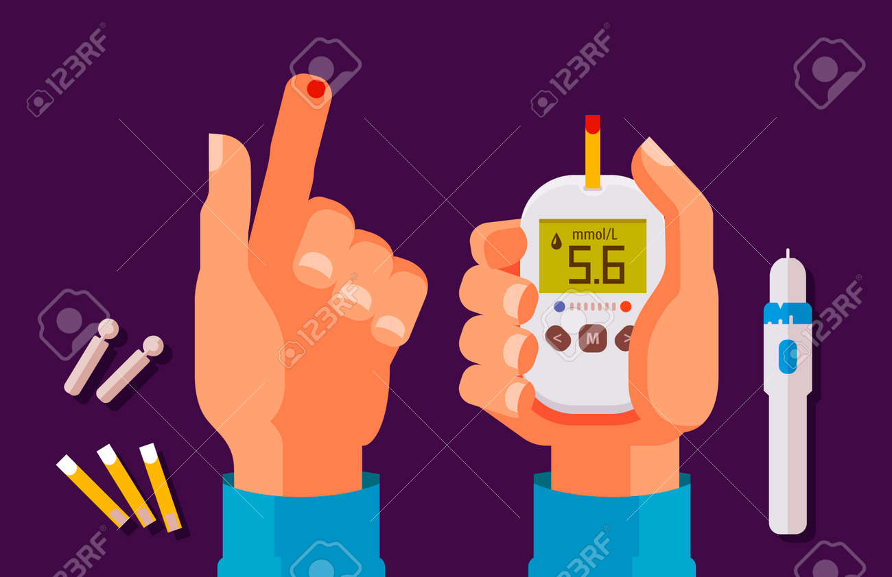 Diabetes, health concept. High blood sugar. Glucometer, glucose meter cartoon vector illustration - 93414200