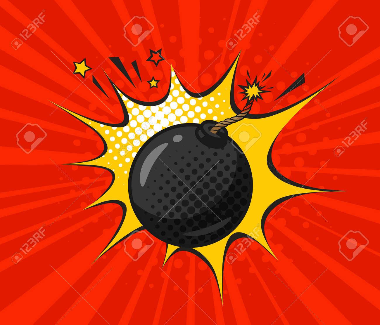 Round black bomb with burning fuse, drawn in retro pop art style. Cartoon comic vector illustration - 94288108