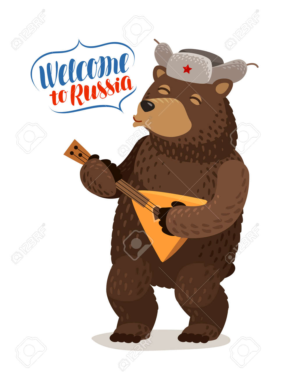Funny Russian Bear In Cap With Earflaps Plays Balalaika Welcome Royalty Free Cliparts Vectors And Stock Illustration Image 95984976