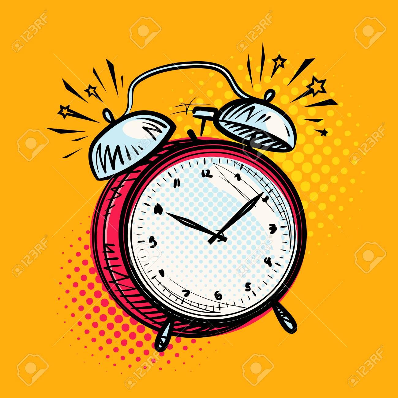 Alarm clock is ringing, wake-up call. Reminder, deadline concept. Vector illustration - 96130265