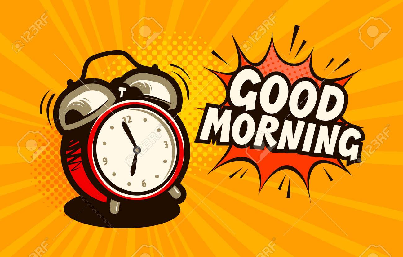 Good morning, banner. Alarm clock, wake-up time concept. Cartoon vector illustration - 96278643