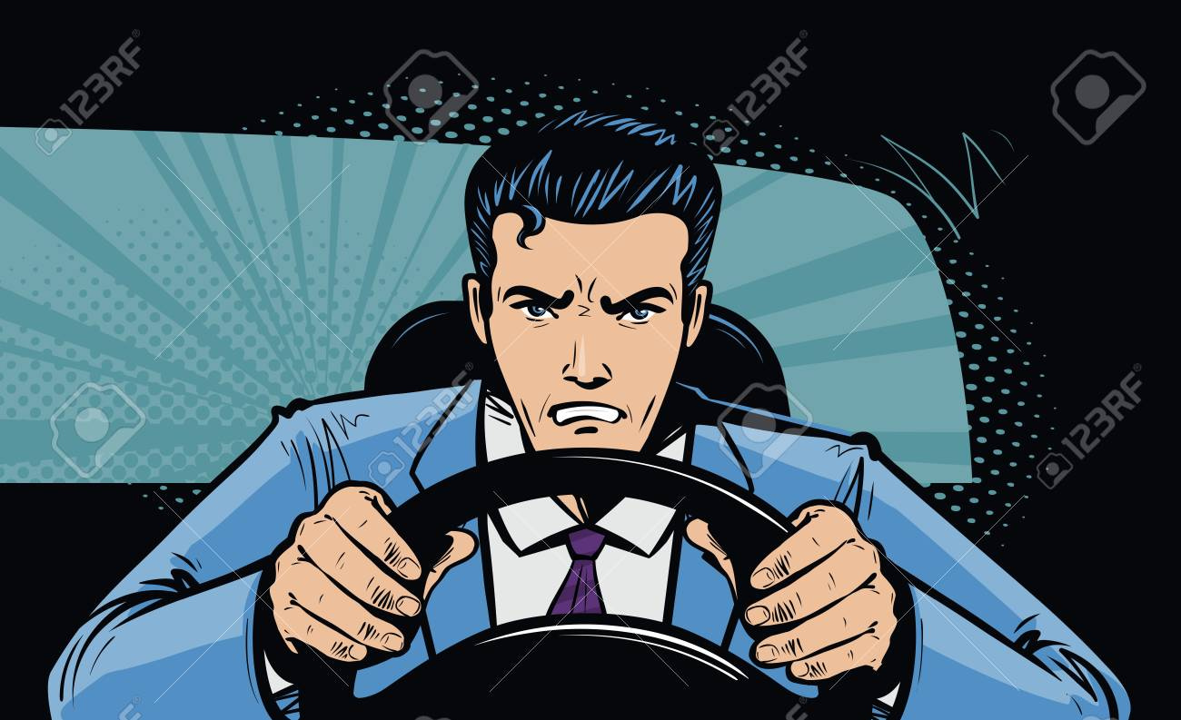 Aggressive driver behind the wheel of car. Race, pursuit in pop art retro comic style. Cartoon vector illustration - 96691730