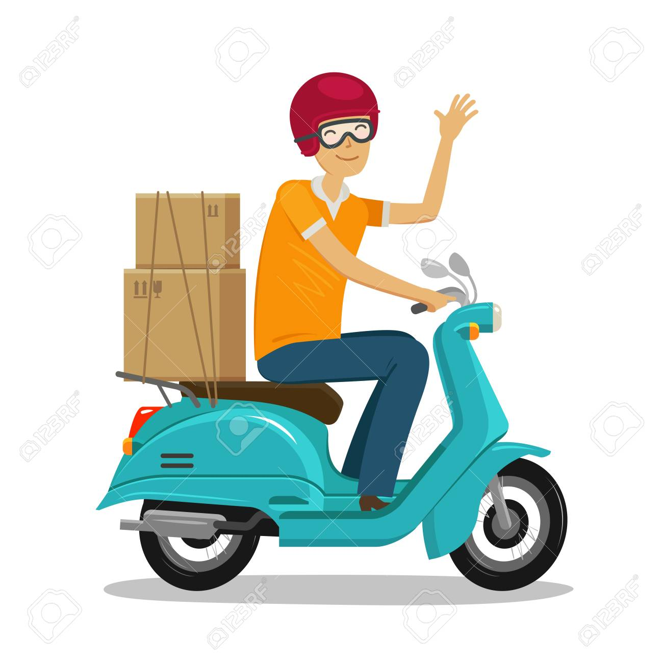 Express delivery, fast shipment concept. Happy courier rides scooter or moped cartoon vector illustration. - 96898905