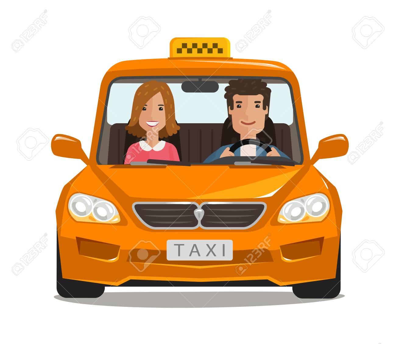 Taxi Cab Car Cartoon Transportation Concept Vector Illustration