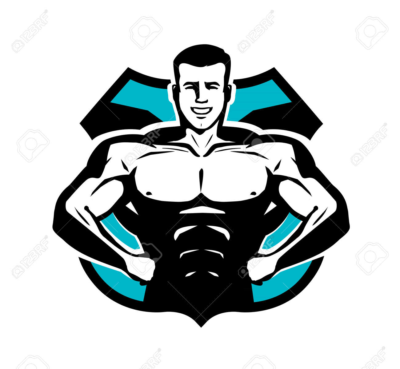 gym bodybuilding sport logo or label happy bodybuilder with rh 123rf com bodybuilding logos graphic design bodybuilding logs on pegmgf
