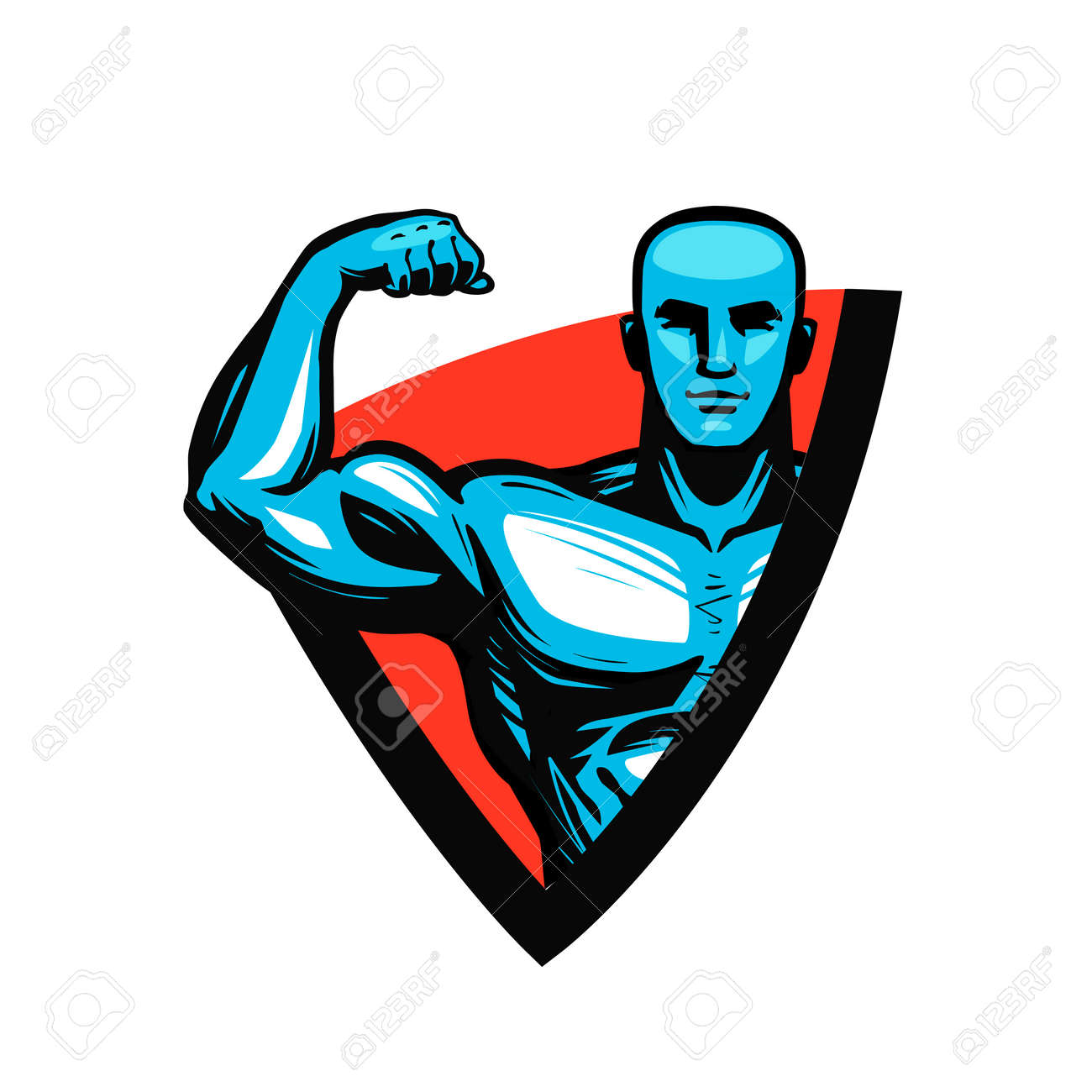 Gym, bodybuilding, fitness icon or label. Muscle male or bodybuilder. Vector illustration. - 98770749