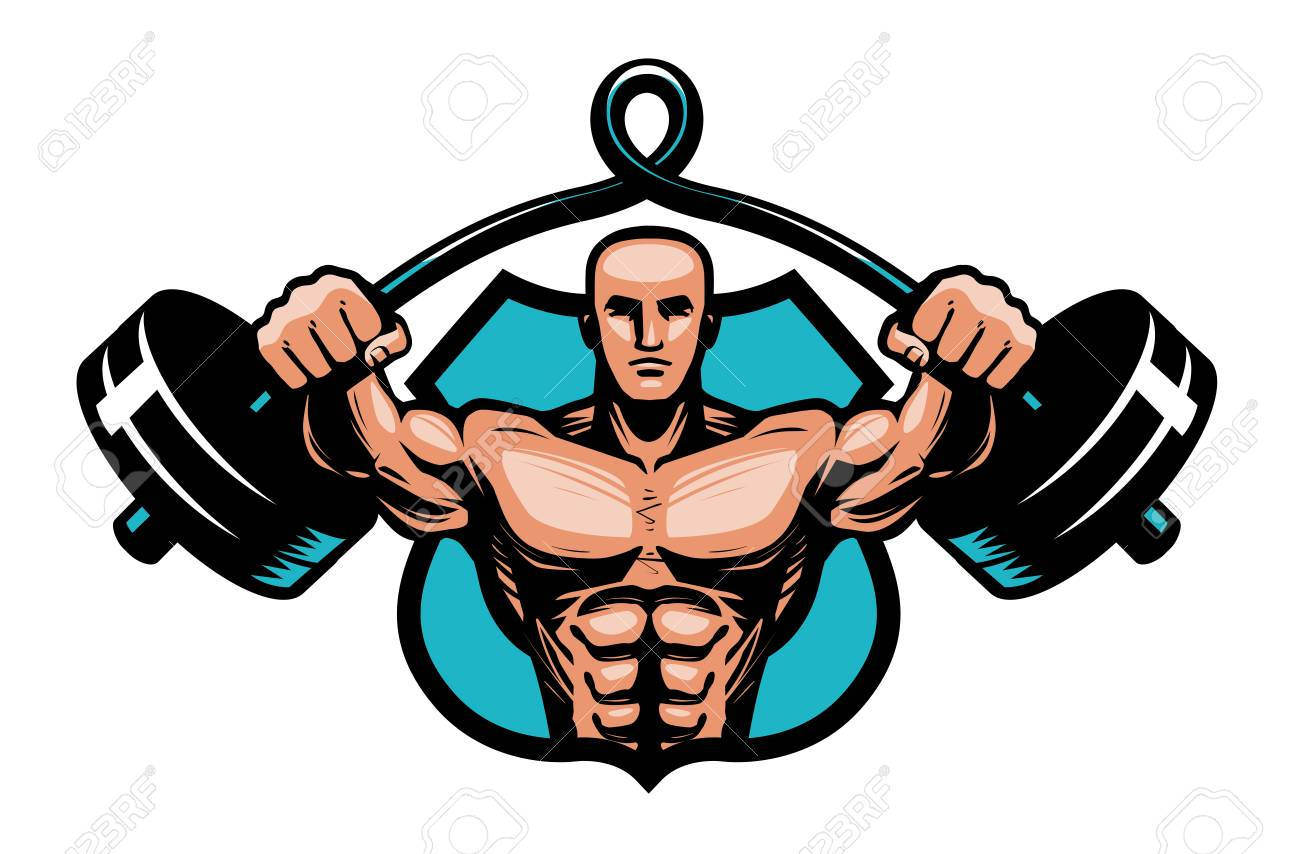gym bodybuilding sport logo or label bodybuilder with heavy rh 123rf com bodybuilder logos bodybuilder logos