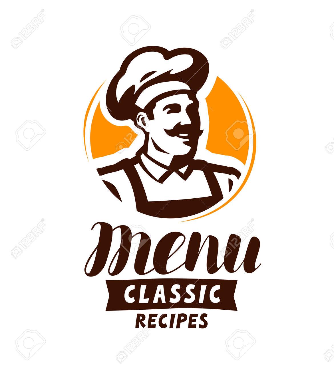restaurant menu logo or label. food concept. vector illustration