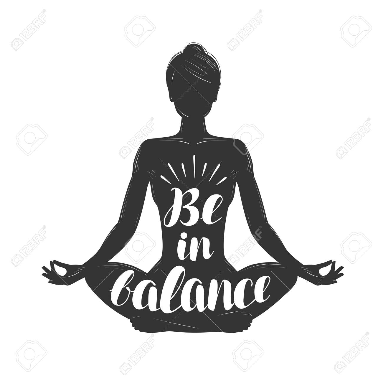 Silhouette Of Girl Sitting In Lotus Pose Yoga Meditation Concept Royalty Free Cliparts Vectors And Stock Illustration Image 100254670