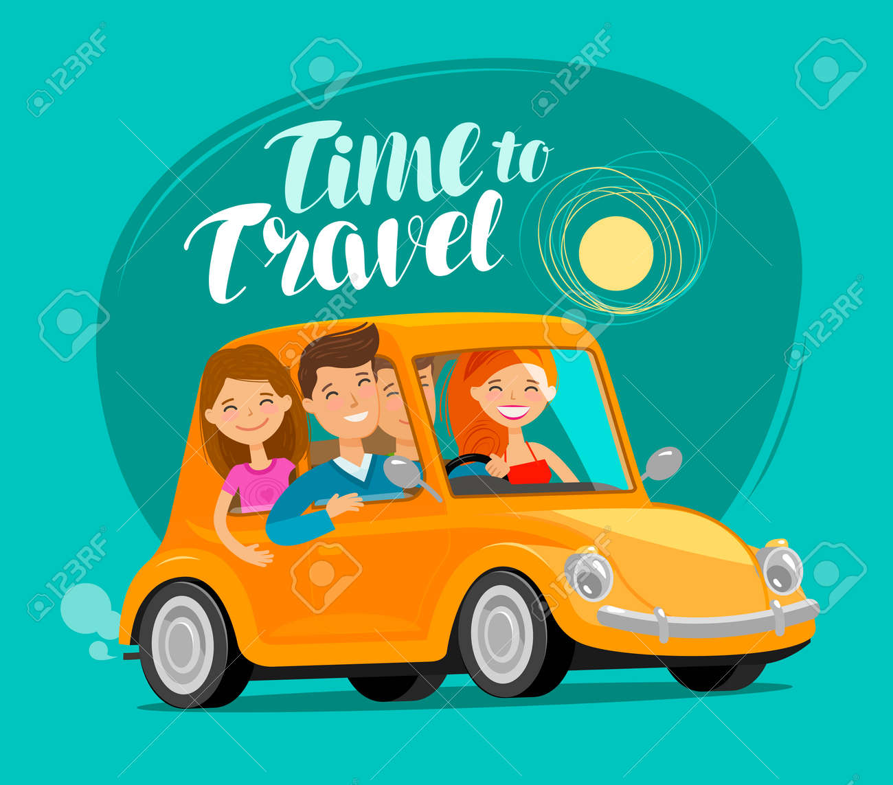 Tme to travel, concept. Happy friends ride retro car on journey. Funny cartoon vector illustration - 100984193