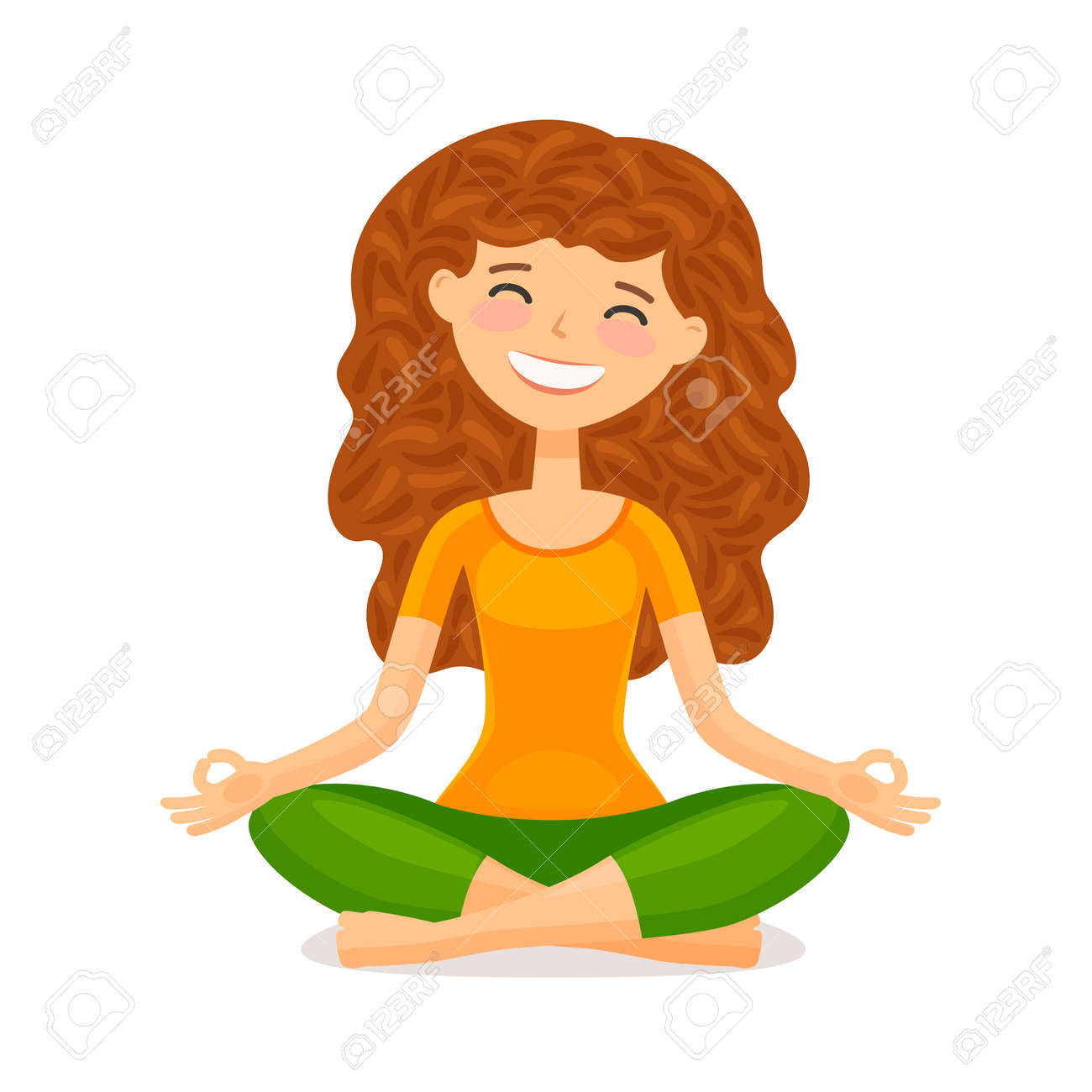 Cute Girl Doing Yoga Relaxation Meditation Concept Funny Cartoon Royalty Free Cliparts Vectors And Stock Illustration Image 101253105