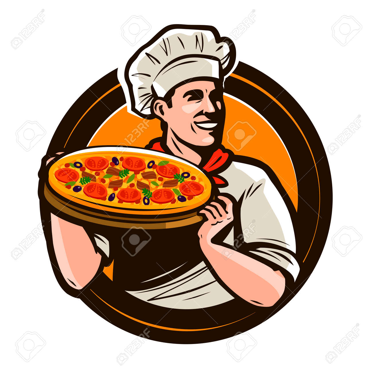 Chef holding a tray of pizza. Fast food, restaurant, pizzeria logo. Vector illustration - 104022865