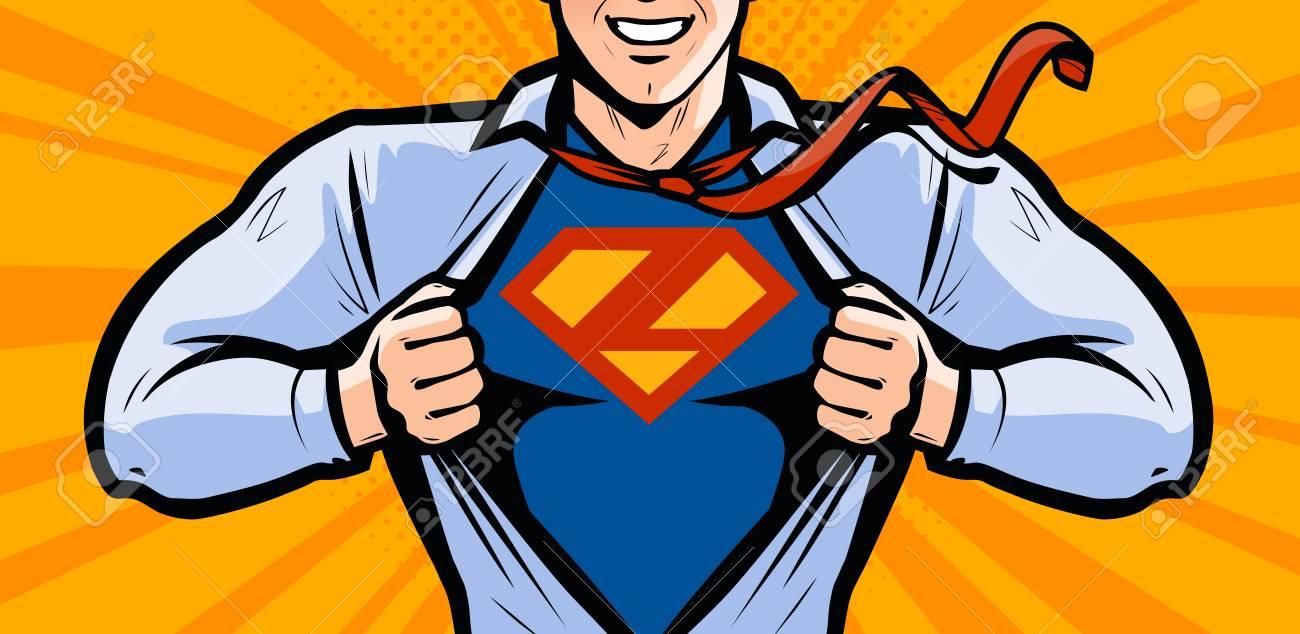 Superhero. Vector illustration in style comic pop art - 105028300